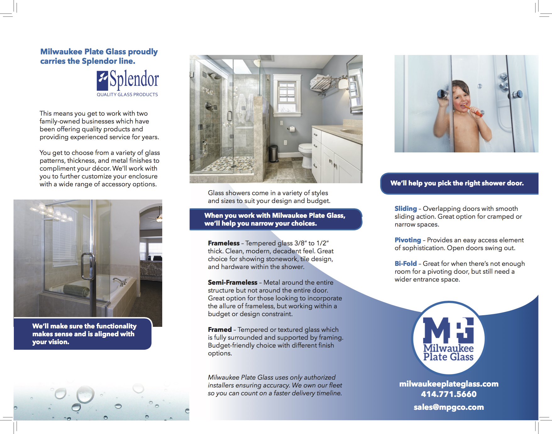 Milwaukee Plate Glass Shower Door brochure Branding and Marketing