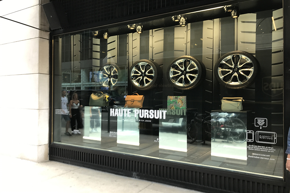 Window display in New York with tires