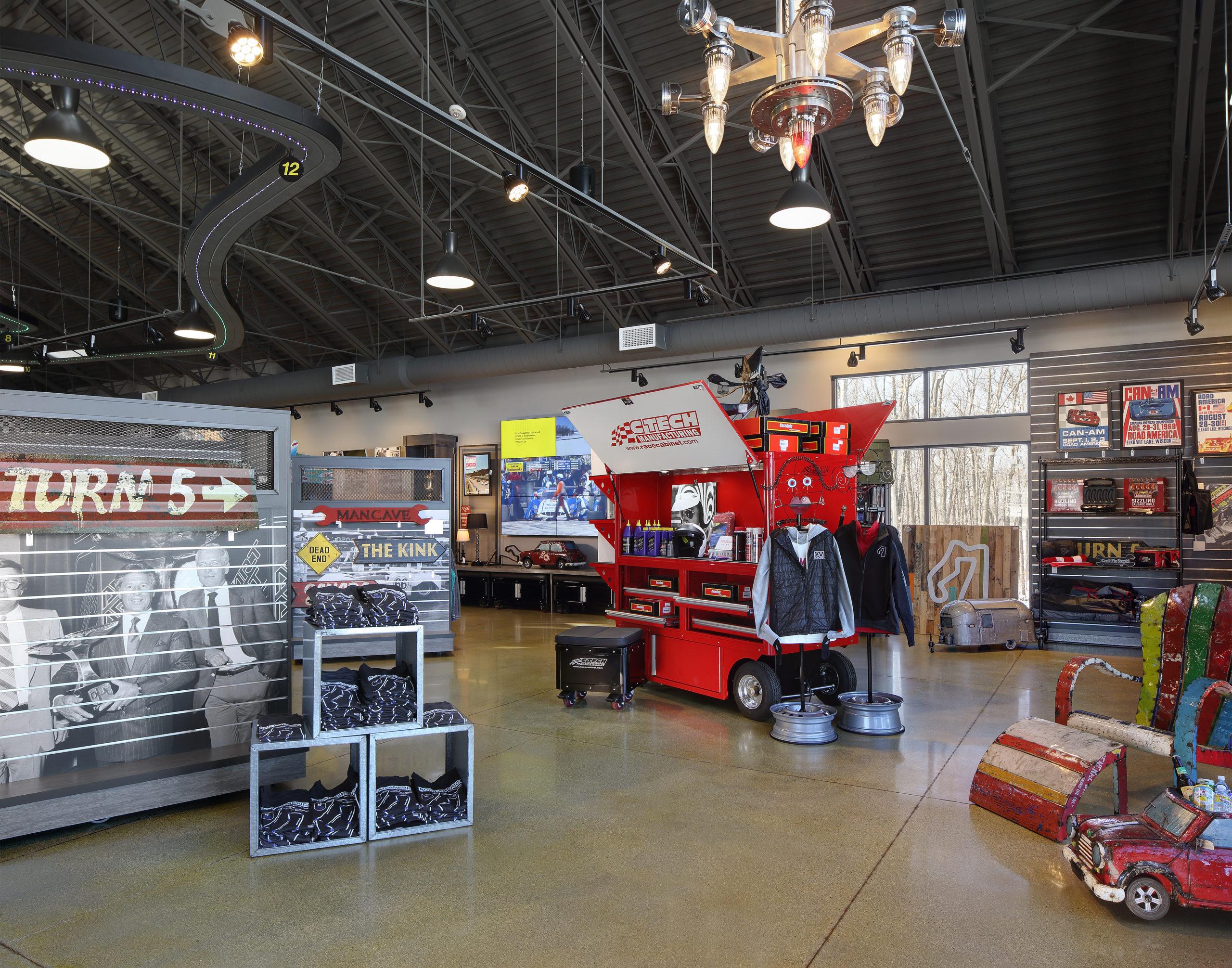 Displays in the interior of Road America racing retailer