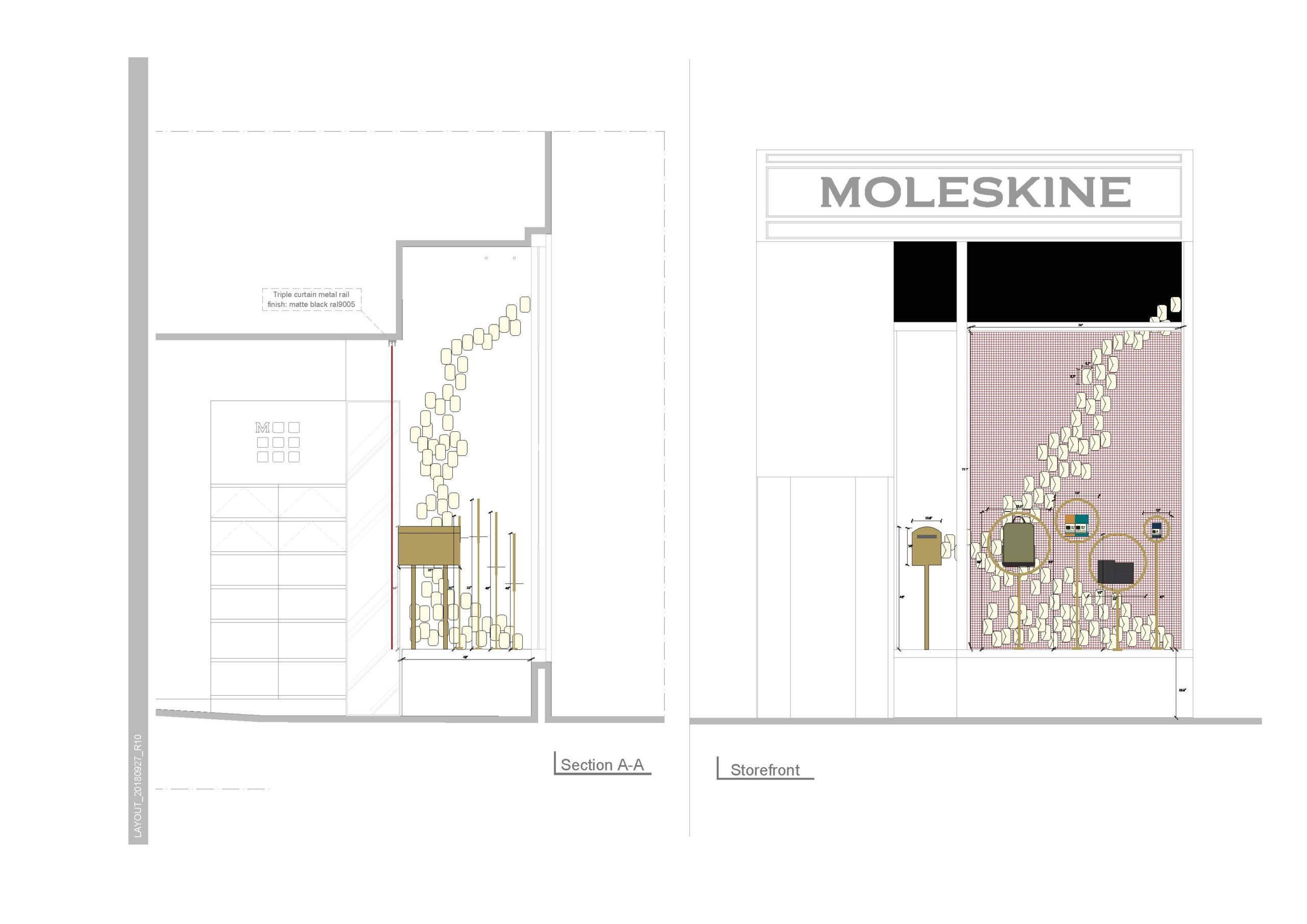 moleskine window display rendering