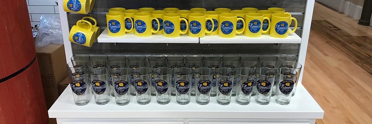 mug and glasses display