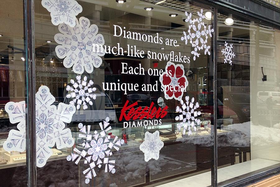 kesslers winter snowflake window display