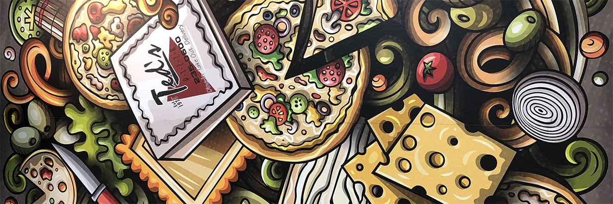 ted's pizza wall covering